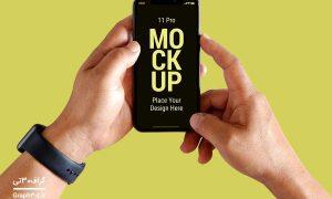 طرح موکاپ موبایل در دست
