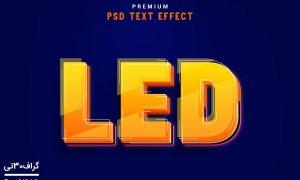 موکاپ افکت متن سه بعدی LED